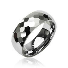 Tungsten Honeycomb Facets Band Ring