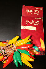 50 Mini Light Chili Pepper Novelty Light Set String -brown Wire-14 foot long