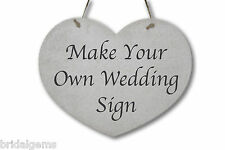 Personalised Heart Shaped Wedding Sign - Choice of Wording/Font - Wooden Plaque
