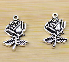 30/50/100pcs wholesale:very beautiful Tibet silver A rose charm pendant