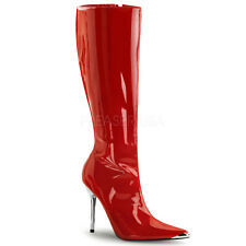 "PLEASER HEAT2010/R Sexy 4 1/2"" Stiletto High Heel Metal Tip Red Knee High Boots"