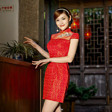 Adjusted Chinese Cheongsam  Qipao Lace Dress Red Color