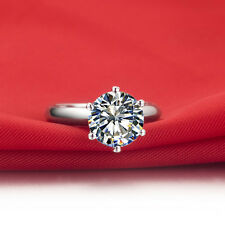 3 CT VVS1 NSCD Diamond Solitaire Ring 925 Sterling Silver with Platinum Plated