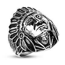Apache Indian Chief 316L Stainless Steel Wide Cast Ring. MSRP $37.99