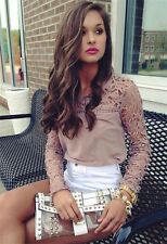 2015 New Womens Casual Long Sleeve Shirt Lace Crochet Loose Pierced Tops Blouse