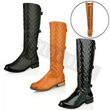 WOMENS LADIES FLAT KNEE HIGH QUILTED BUCKLE RIDING CALF WINTER BOOTS SIZE