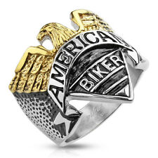 "Eagle with ""American Biker"" Engraving Stainless Steel Cast Ring Size 9-15"