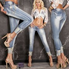 New Sexy Women Skinny Ladies Studded Blue Jeans Trouser Size 6 8 10 12 S M Pant