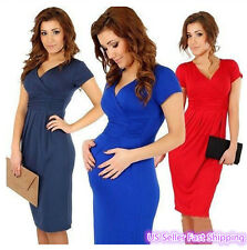 Sexy Maternity Women Short Sleeve Slim Bodycon Party Cocktail Evening Dress #01