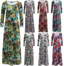 New Ladies Tropical Floral Summer Prints Maxi Dress Flared Swing Maxi 8-26