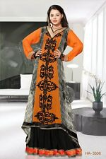 New Dubai Women Kaftan Abaya Jalabiya Orange Viscose Georgette Party Wear HA5336