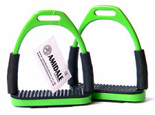 FLEXI SAFETY STIRRUPS HORSE RIDING BENDY IRONS S/ STEEL GREEN COLOR FROM AMIDALE
