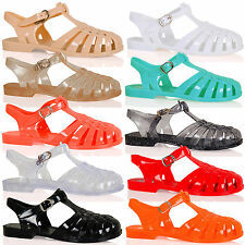 Anneka Womens Girls Retro Flats Ladies Jelly Sandals Shoes Summer Beach Size D8S