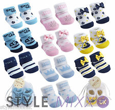 Newborn Baby Boys Girls Pink Blue Socks Booties Organza Bag Gift Set 0-12 Months