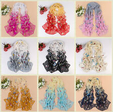NEW Fashion Women's Lady Chiffon Butterfly Floral Scarf Soft Wrap Long Shawl