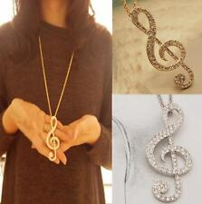 New Women Gold Crystal Music Note Rhythm Long Chain Sweater Necklace Pendant YOS