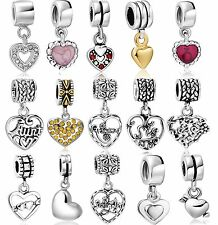 925 Solid Sterling Silver Pendant Heart Charm Popular fit European Bead Bracelet