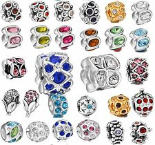 925 Silver Genuine Shining Crystals Round Beads Fit New European Charm Bracelet