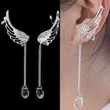 Women Lady Angel Wing Plated Crystal Chain Drop Dangle Ear Stud Clip Earrings