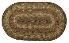 Ultra Durable Washable Braided Area Rug Oval Indoor Outdoor Beige Red Green