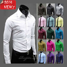 New Fashion Luxury Mens Formal Casual Suits Slim Fit Dress Shirts 4 Colours