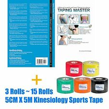 SPOL KINESIOLOGY TAPING Manual book + 3~15 Rolls Sports Muscle therapeutic Tape