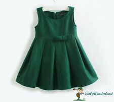 New Girls Thick Wool Black Green Autumn Winter Dress Jumper Skirt size 2-5Years