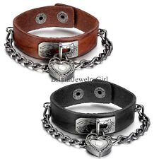 Gothic Punk Rock Biker Heart Shape Lock Leather Charm Cuff Bracelet Wristband