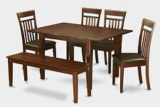 6-Piece dining table set with bench -small table with 4 dining room chairs and B