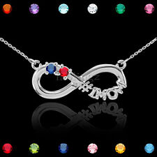 """16"""" Sterling Silver Infinity #1 MOM Two CZ Birthstone Necklace Mother's Day Gift"""