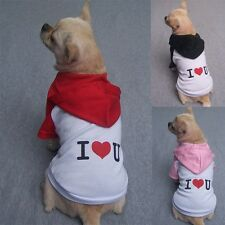 Small Pet Clothes I Love You Summer Dog T Shirts Hoodies Cotton Tee 5 colors 6sz