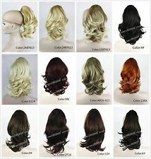 Brown Ponytail Extension Hairpiece wavy Claw clip in on Hair Piece 14 inches