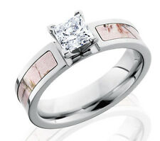 Titanium Pink Realtree AP Camo inlay AAAA 1ct CZ Stone Engagement Ring for women