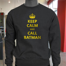 Chive Funny Keep Calm and call Batman Mens Charcoal Sweatshirt