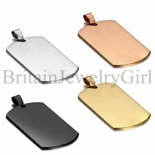 Punk Polish Stainless Steel Military Dog Tag Blank Pendant Chain Necklace 22""