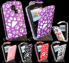 Pink, Purple, Dog Footprint Paw Flip Leather Case For Samsung Ch@t335 Chat S3350
