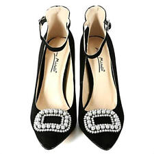 Anne Michelle Black Suede Pointy toe Pump High Heel Shoe with Pearl decor