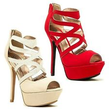 Qupid Peep toe Red Stone Strappy High Heel Platform Sandal Shoe Women's