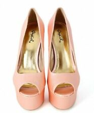 Qupid Peep toe Pump Nude Blush High Heel Platform Shoe Stiletto Women's Pinch-01