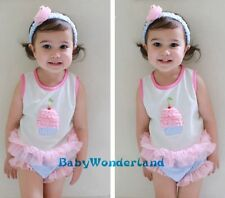 New Baby Girls Birthday Party 3 Pieces Set Top + Shorts + Headband Size 0-2Years