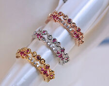 Trendy 2-Laywer Chain Rose Zircon 18K Gold Plated Lady Ring Size 6/7/8 Hot
