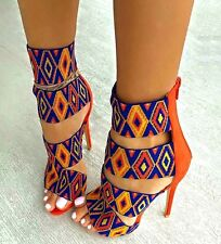 Red Kiss Yellow Strappy Tribal Open toe Sandal High Heel Women's Pump Shoes