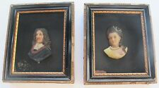 Pair Colored Wax Bust Profile Miniature Portraits Royalty c Mid-19th c frames