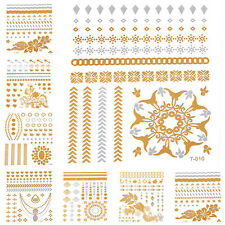 20 Styles Metallic Temporary Tattoos Wings/Feathers/Flowers Flash Tattoo Gold
