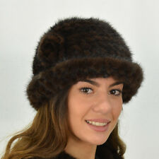 Mink Knitted Hats with Rosette