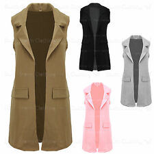Ladies Waist Coat Crepe Long Sleeveless Cardigan Womens Jacket  Uk Size 8 - 18