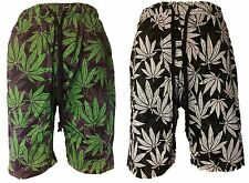 Mens Victorious Weed Leaf French Terry Jogger Shorts Marijuana Print S M L XL 2X