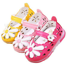 Fashion Princess Toddler Girl Sandal Velcro Flower Baby's Leather Shoes Light Up
