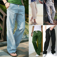 Casual Men's Linen Draw String Dress Pants Trousers With An Elastic Waist 28-34