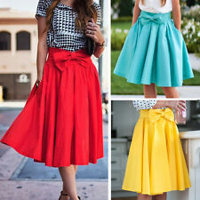 Women Ladies Bowknot Skater Flared Plain Midi Office Party Work Dress Long Skirt